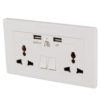 Multi function universal double power  electrical sockets usb wall socket with usb charger outlet2.1A