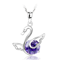 2014 Fashion Jewelry Wholesale Newest Purple and White Swan Sterling Silver Pendants