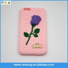 Manufacturer wholesale fashion style 3D Rose Pattern silicon Cell Phone Case for iphone 6