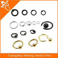 Low MOQ Stainless steel captive bead ring closure ball ring lip eyebrow,penis nipple piercing jewelry body