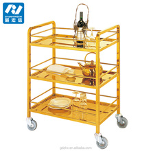 hotel metal liquor trolley bar cart with 3-tier