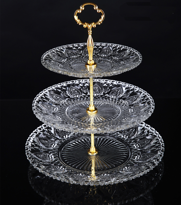 Hot Popular Clear Colored 3 Tier Glass Serving Trays Fruit Bread Trays Tempered Glass Serving Tray 3 Tier Dessert Tray