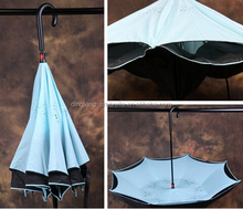 Double canopy reverse design innovative upside down umbrella