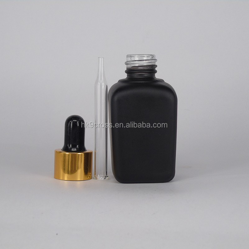 30ml square glass bottle recycle machine frosted black glass dropper oil bottle