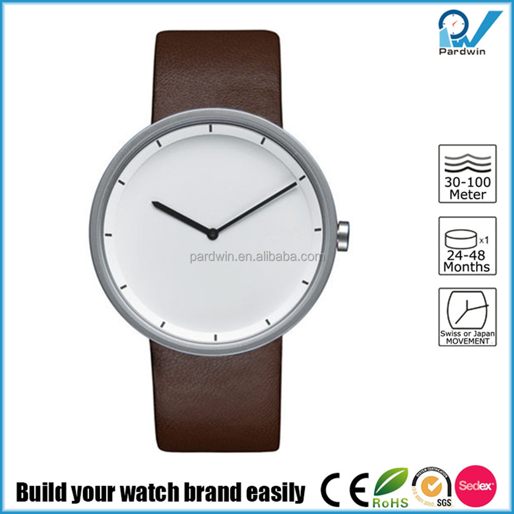 Wrist watch in 18/10 stainless steel matte with leather strap brown watch oem