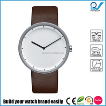 Wrist watch in 18/10 stainless steel mat with leather strap brown watch oem