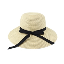 New Fashion Women Beach Hat Lady Wide Brim Floppy Foldable Summer Sun Straw Hat