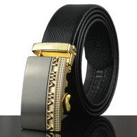Top Quality Men Full Grain Genuine Soft Leather Automatic Belt