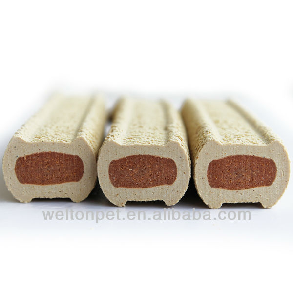Filling bone-shaped dog chews (dog food products)