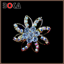 Charming Gold Plated Prom Wedding crystal and rhinestone Brooch Pin Bouquet Flower Jewelry For Women
