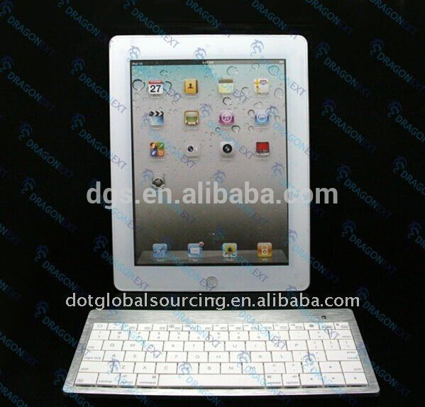 Professional Mini Silver & White Aluminum Wireless Mobile Phone Tablet PC Bluetooth Keyboard