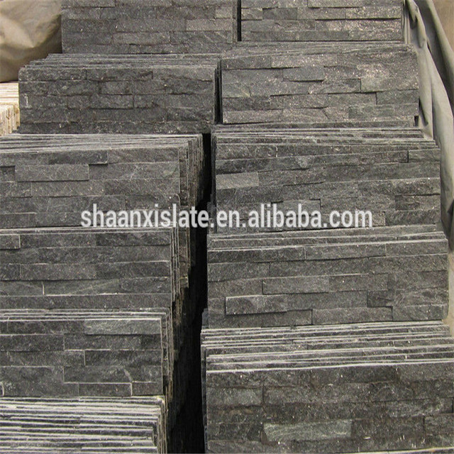 Chinese manufacture top quality black natural cultural wall slate panels