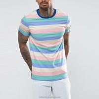 B2B Clothing Muscle Style T Shirts With Pastel Stripe