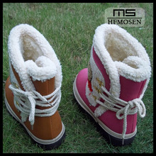 TS1107 cute children's snow boots girls shoes leather waterproof girls fur winter snow boots