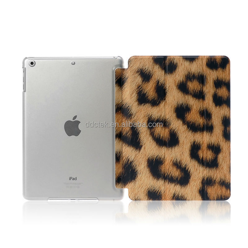 Leopard image water paste injection whole PC PU cover for ipad mini case custom