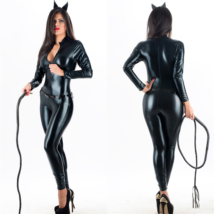 Sexy Black PVC Vinyl Faux Leather Jumpsuit Catwoman Costume For Women