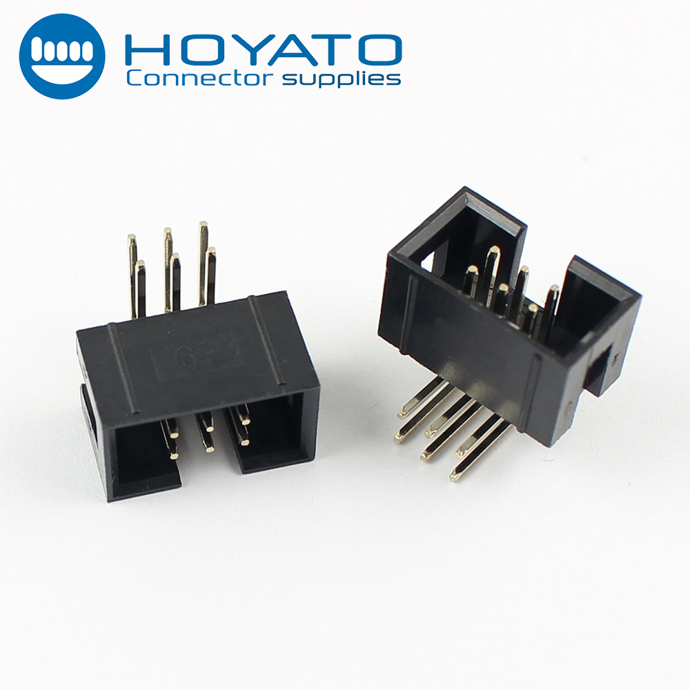 Gold Plated Pin Header 2.54mm 2x3 Pin 6 Pin Right Angle Male Shrouded IDC Box Header Connector