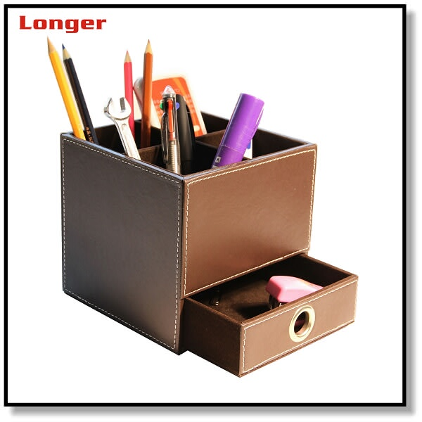 High quality cheap custom leather desk table top organizer holder