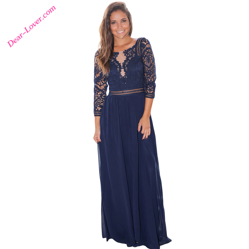 <strong>Navy</strong> Sexy Crochet <strong>O</strong>-Neck Quarter Sleeve Maxi Lace Party Dress