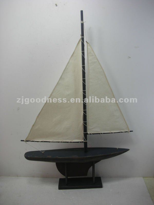 GOOD SALE 36-5/16''H 3 Asst. Wooden Sailboat Nautical Decoration