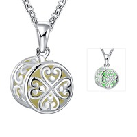SJYGN033 SJ Drum Shape Zinc Alloy Silver Plating Noctilucent Clover Pattern Women Heart Shape Necklace for Girls Three Color