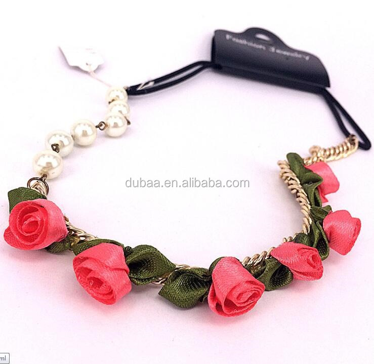 Fashion Hot Red Fabric Chiffon Rose Flowers Elastic Chain Headband Pearls Hairband Hair Necklace Head Ornament Accessories