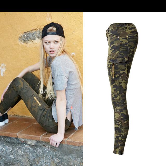 W8934 Women's high waist jeans skinny elastic denim camouflage pencil pants