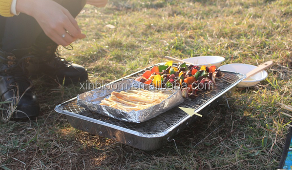 extra large size 48x31 cm campig charcoal instant bbq grill set