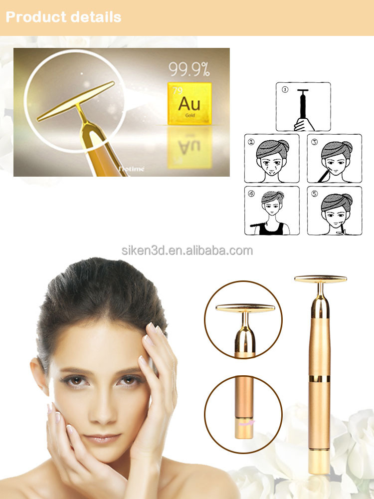 Notime 24k gold face lifting device T-shape 24k gold beauty bar