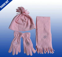 Girls pink color 3 Piece Fleece Hat, Scarf & Glove Women's Winter Set