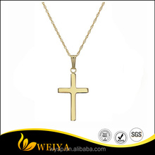 2016 Fashion Solid Polished Cross Pendant Necklace with 14k Yellow Gold