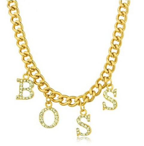 Goldtone Boss Charm Pendant with an Adjustable 18 Inch Miami Cuban Necklace