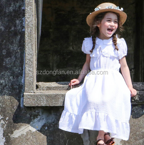 high quality summer bubble sleeve girl child dress long one piece dress for 7 years old girl