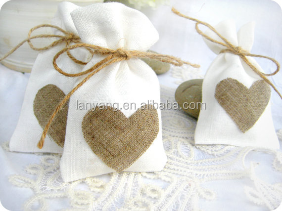 Mini linen burlap style drawstring pouch wedding party favor bags