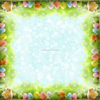 Egg and Chicks Design Locate Print Tablecloth for Easter Promotion Made of 190gsm Polyester Woven Fabric with Lower MOQ Required