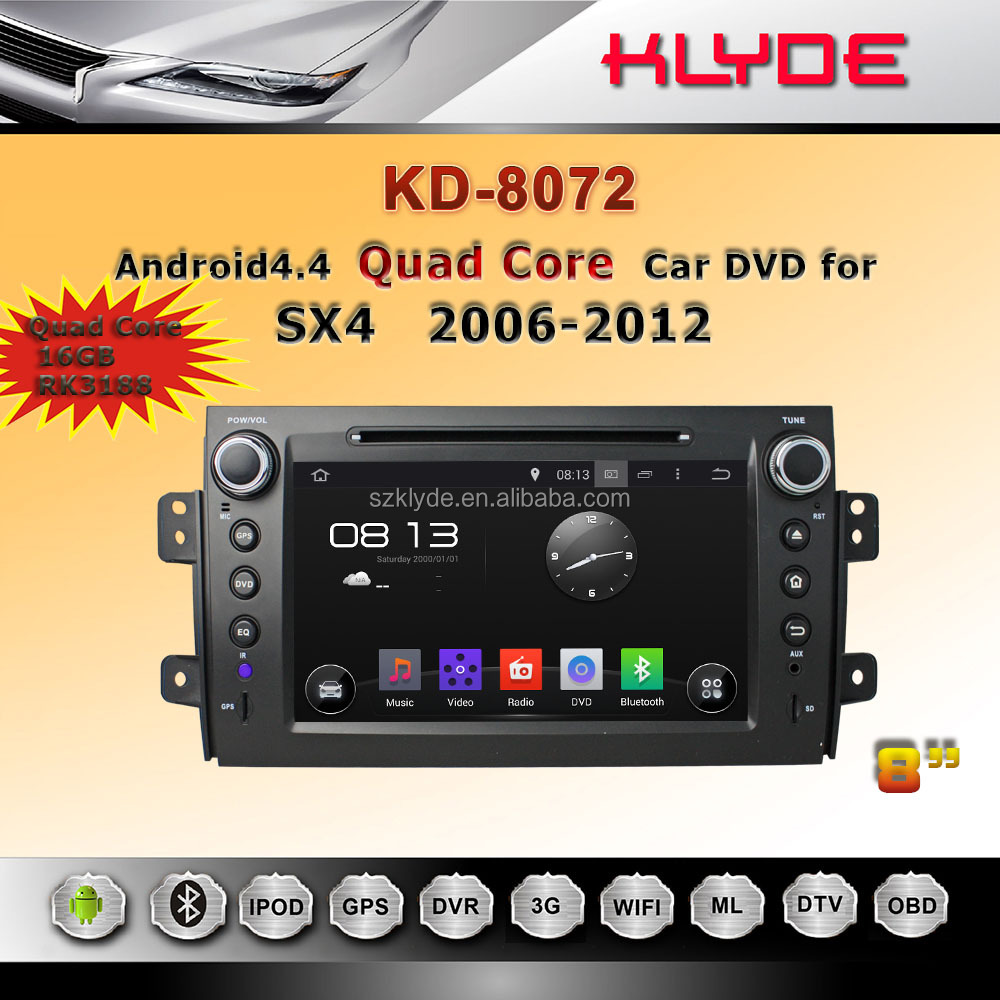Android 4.4.4 quad core car radio with Bluetooth 3G WIFI for suzuki sx4