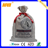 promotional jute santa bag with drawstring