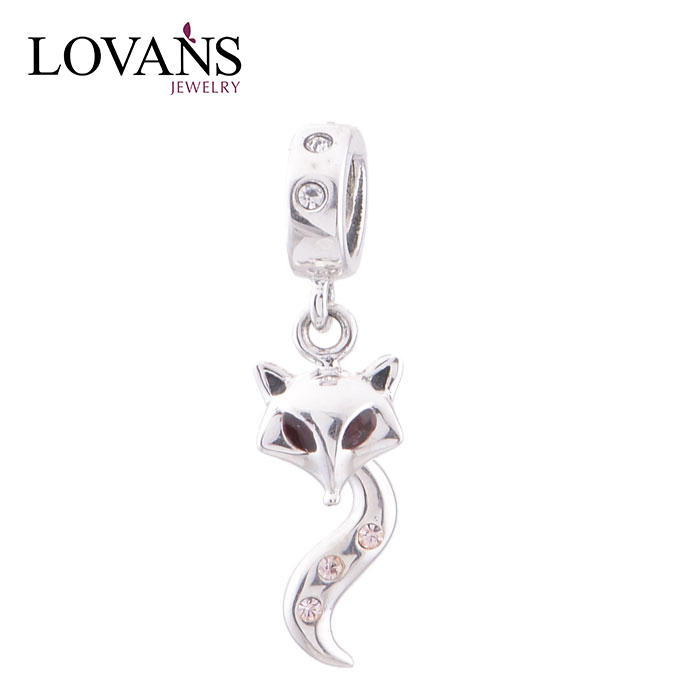 New Arrived 925 Sterling Silver Animal Silver Dangle Charms Fox Beads YZ070