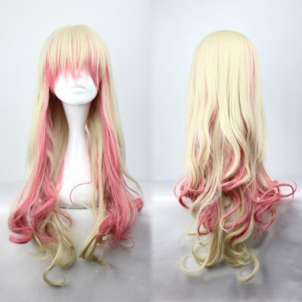 Promotion Macross Series Sheryl Nome Cute Female Colorful 70cm Long Curly Synthetic Cosplay Wig