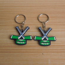Russia cross ice hockey stick design PVC key chain