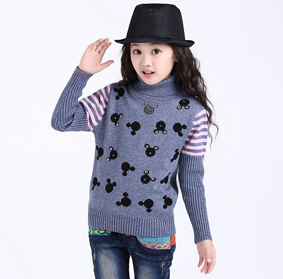 2015 children kids girls Sweaters coat Autumn winter Fashion Pullovers knit  kids clothing Snowflake sweater 4 , 15Y 2 colors