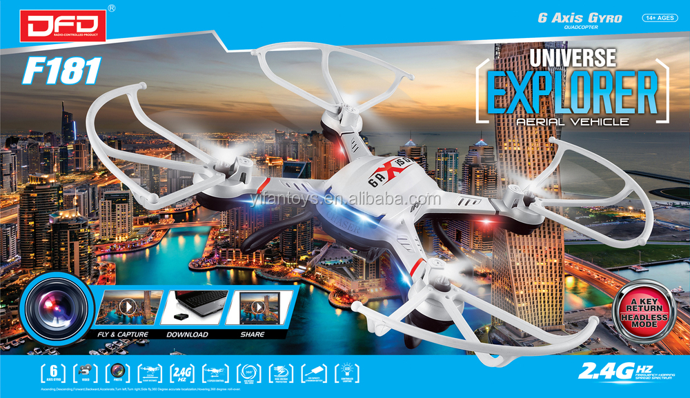 Wholesale Professional F181D FPV Realtime HD Camera UAV Drone 2.4G 4CH 6 Axis Phantom RC Propeller Quadcopter UFO Kit