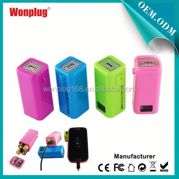 2014 newest designed top sales AA batteries power bank hp