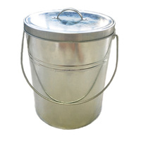 13 liter 3.5 gallon metal galvanized steel cleaning bucket with lid round storage containers for kitchen and garden