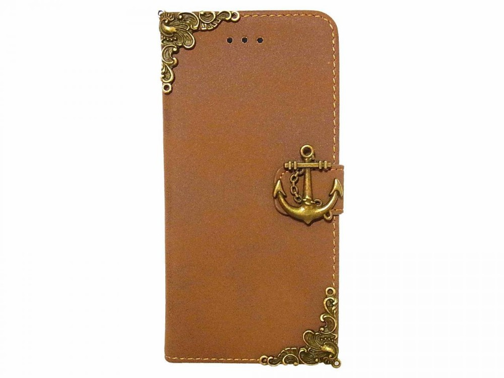 Vintage Retro Style Victorian Anchor Phone Case for iphone 6 Leather Wallet Case Cover Brown