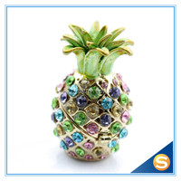 Pineapple Design Baby Gift Decorative Box Trinket Box with Full Crystals