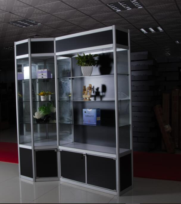 Aluminum Alloy Tower glass Jewelry and watch display showcase