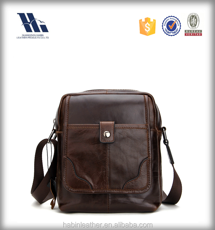 Fashion small leather shoulder strap messenger bag for men