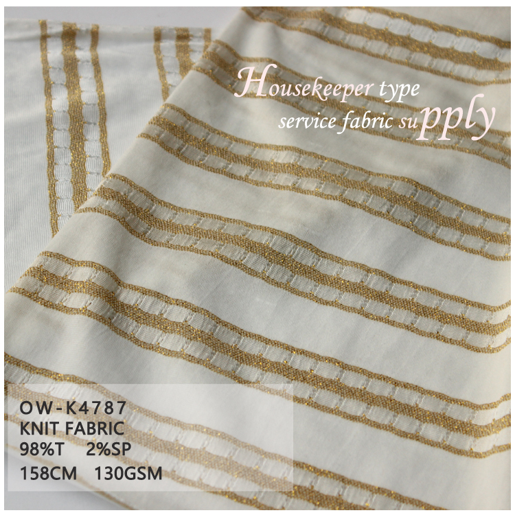 zhejiang Onway Textile stripe lines knit jacuqard fabric white and gold for elegent lady dress