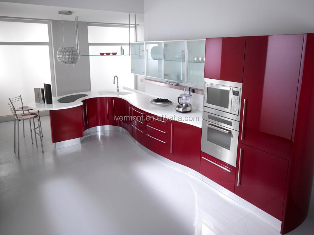2017 Red Colorful Modern kitchen cabinet, hotel kitchen furniture, customized kitchens